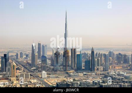 Dubai Burj Khalifa Downtown aerial view photography UAE - Stock Photo