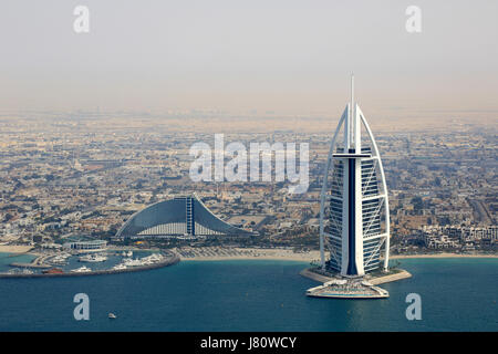 Dubai Burj Al Arab Jumeirah Beach Hotel aerial view photography UAE - Stock Photo