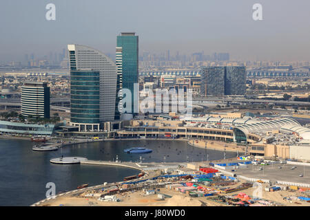 Dubai Festival City mall aerial view photography UAE - Stock Photo