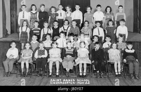 1950s Group School Kids Boys Girls Piano Singing Teacher