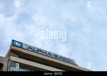 BELGRADE, SERBIA - MAY 25, 2017: Alpha Bank Serbia's main office in the center of Belgrade. Alpha Bank is Greece's - Stock Photo
