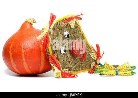 red kuri squash and kite made of straw isolated on white background - Stock Photo