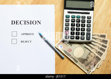 Top View Of Decision Paper Calculator Financial Graph Chart