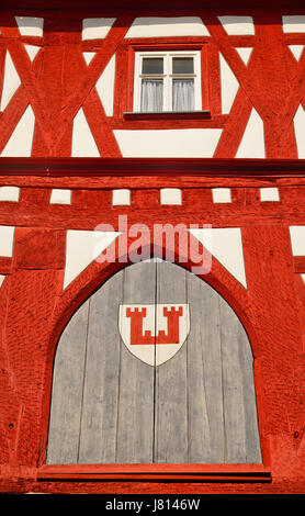 Germany, Bavaria, Rothenburg ob der Tauber, Shapes and Patterns on a half timbered house in Marktplatz with the - Stock Photo