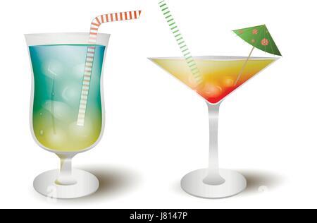 Popular alcoholic drinks cocktail set, vector illustration - Stock Photo
