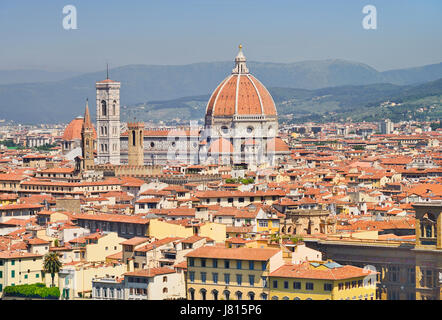 Italy, Tuscany, Florence, Vista of the city with the dome of the Cathedral seen from Piazzale Michelangelo. - Stock Photo