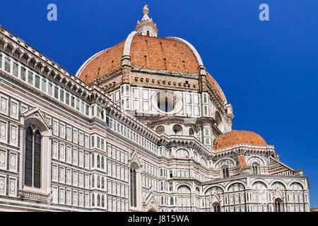 Italy, Tuscany, Florence, Duomo or Cathedral also known as Santa Maria del Fiorel, View of the dome from the ground - Stock Photo