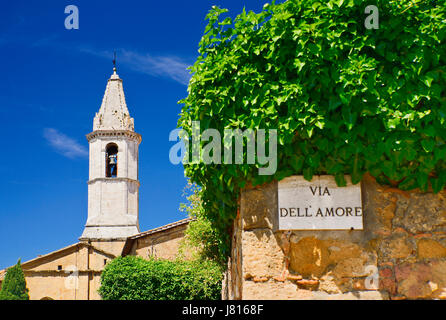Italy, Tuscany, Val D'Orcia, Pienza, The belltower of the Duomo built in 1459 by the architect Bernardo il Rossellino - Stock Photo
