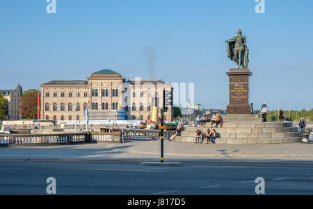 View from Slottsbacken in Stockholm towards the statue of king Gustaf III and the National Museum of Fine Arts - Stock Photo