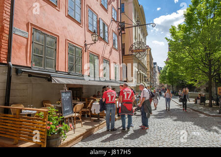 Outdoors restaurant in medieval Old Town of Stockholm. The historic Old Town is a major tourist attraction.