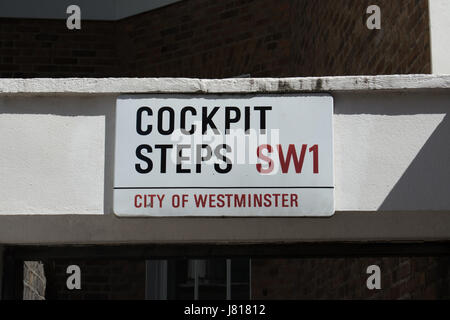 street name sign for cockpit steps, an allegedly haunted flight of steps in westminster, london, england - Stock Photo