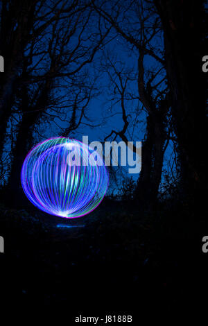 Light Painting Orb In The Woods