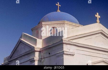 Chora, Mykonos, Greece. 3rd Oct, 2004. The blue-domed Greek Orthodox church of Agios Nikolaos in the town of Chora, - Stock Photo