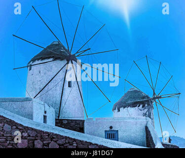 Chora, Mykonos, Greece. 9th Oct, 2004. The famous iconic windmills (Kato Mili) in Chora, Mykonos, on a hill overlooking - Stock Photo