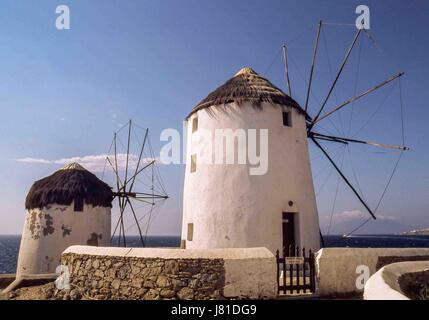 Chora, Mykonos, Greece. 3rd Oct, 2004. The famous iconic windmills (Kato Mili) in Chora, Mykonos, on a hill overlooking - Stock Photo