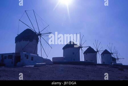 Chora, Mykonos, Greece. 3rd Oct, 2004. The famous iconic windmills (Kato Mili) in Chora, Mykonos, stand in a row - Stock Photo
