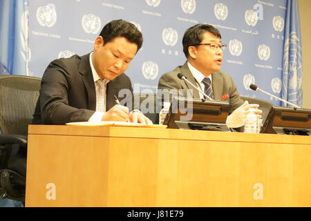 New York, USA. 26th May, 2017. North Korea's Deputy Ambassador Kim In Ryong spoke to reporters at the UN about his - Stock Photo