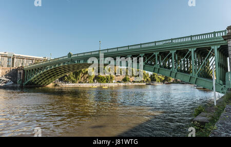 Bridge of the Motte Rouge over the Erdre river in Nantes (France) - Stock Photo