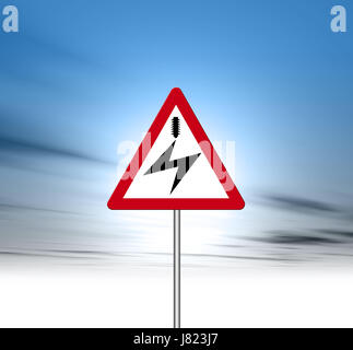 sign signal danger energy power electricity electric power electric motorway - Stock Photo