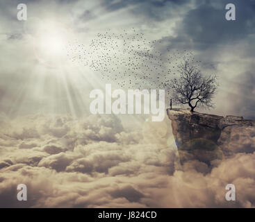 Young man standing on the peak of a cliff over clouds watching at a flock of birds flying from a strange, bare tree. - Stock Photo