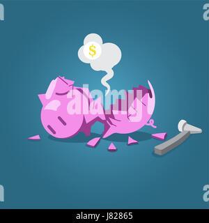Broken piggy bank with hammer vector illustration for financial  crisis concept. - Stock Photo