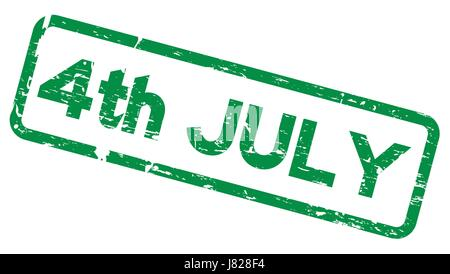 Grunge green 4th July square rubber seal stamp on white background - Stock Photo
