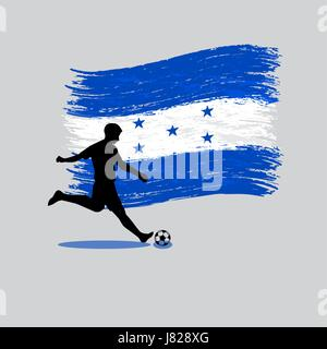 Soccer Player action with Republic of Honduras flag on background - Stock Photo