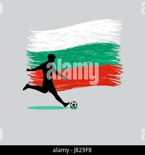 Soccer Player action with Republic of Bulgaria  flag on background vector - Stock Photo