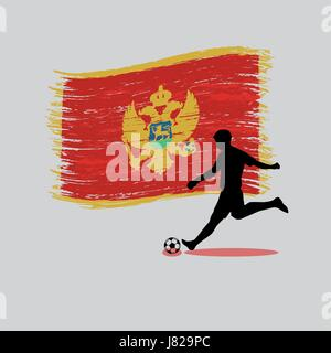 Soccer Player action with Montenegro flag on background vector - Stock Photo