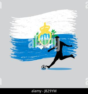 Soccer Player action with Republic of San Marino flag on backgroundvector - Stock Photo