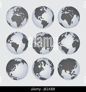 Worl map and continent halftone dot vector set - Stock Photo