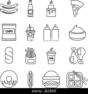 Fast food icons set, outline style - Stock Photo