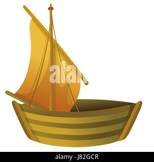 wood toy boat ship rowing boat sailing boat sailboat watercraft objects - Stock Photo