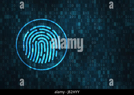 Digital fingerprint security concept with icon of finger scan over binary digits background - Stock Photo