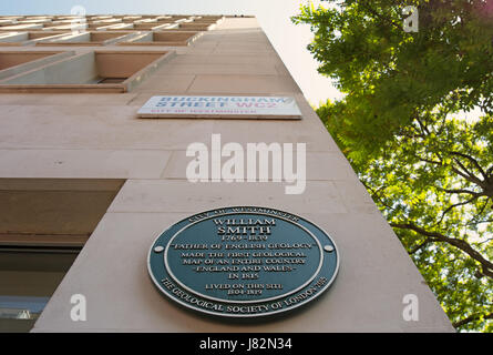 city of westminster green plaque marking the site of a home of pioneering geologist william smith, buckingham street, - Stock Photo