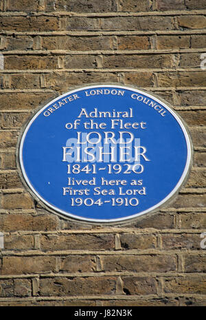 greater london council blue plaque marking a home of admiral of the fleet lord fisher, queen annes street, westminster, - Stock Photo