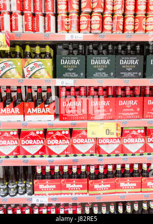 Gluten free beer in Carrefour supermarket in Spain - Stock Photo