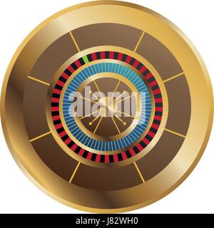 casino gambling roulette wheel playful vector illustration - Stock Photo
