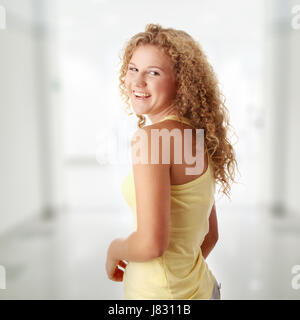 woman beautiful beauteously nice fashion feminine female teen face portrait - Stock Photo