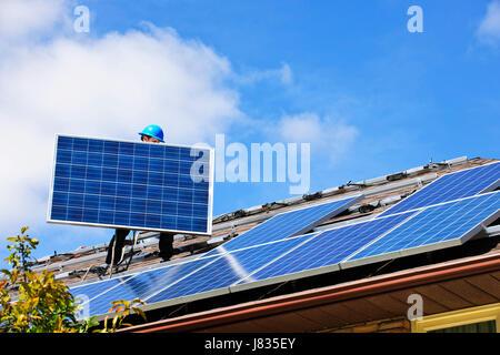 energy power electricity electric power solar solar panel photovoltaic - Stock Photo