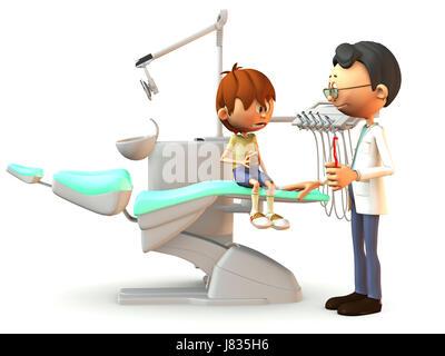 Dentist Cartoon Dental Exam Inspection Healthcare Jagged Patient Comic Teeth