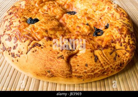 Focaccia or Round Bread - Stock Photo