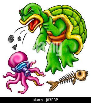 animals fish illustration turtle octopus cartoon maddening pert coquettish cute - Stock Photo
