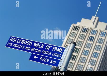 street sign walk of fame berlin potsdamer platz - Stock Photo