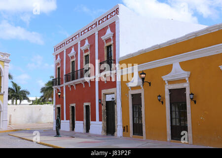 Campeche City colonial architecture, Yucatan, Mexico - Stock Photo