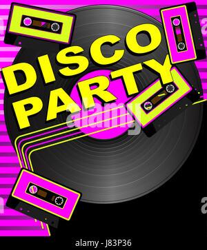 sound party celebration retro eighties backdrop background disco shine shines - Stock Photo