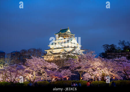 Osaka, Japan at Osaka Castle during the spring cherry blossom season. - Stock Photo