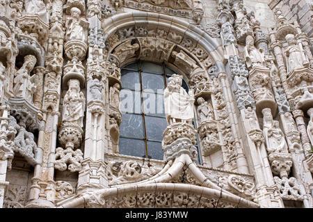 sightseeing portugal facade monastery lisbon emblem convent artful historical - Stock Photo