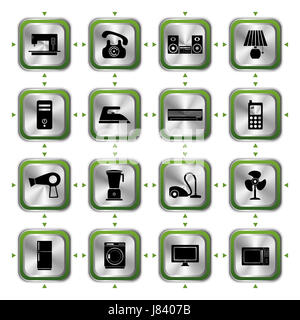 telephone phone industrial electrical icon set appliances computers computer - Stock Photo