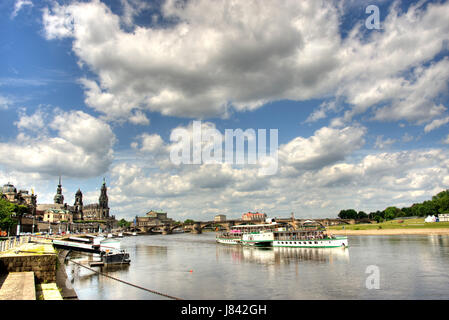 Dresden elbe blue spring saxony sight view outlook perspective vista panorama - Stock Photo